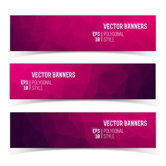 Set van moderne horizontale banners met veelhoekige kristalstructuur in paarse tinten