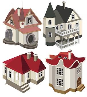 Set van moderne huizen