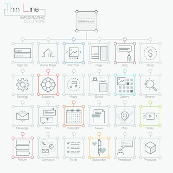 Set van moderne iconen in dunne lijnstijl