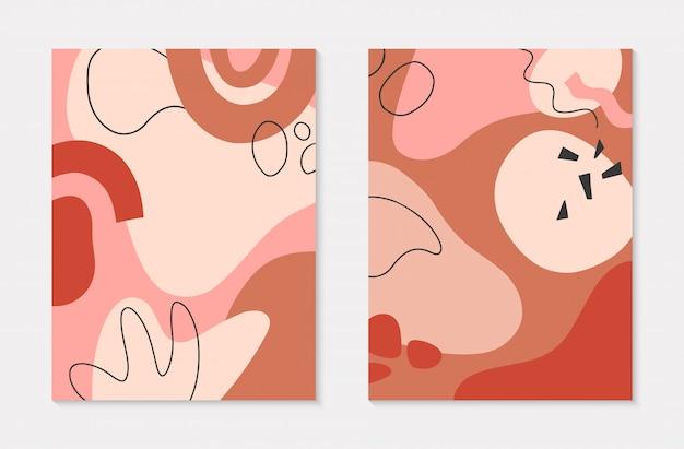 Set van moderne illustraties met handgetekende organische vormen en texturen in pastelkleuren