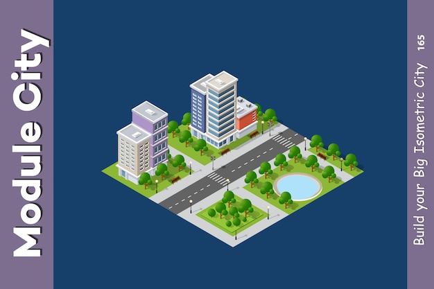 Set van moderne isometrische gebouwen