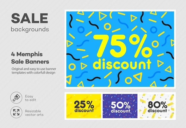 Set van moderne kleurrijke poster, banner, flyer-sjabloon in de stijl van memphis.