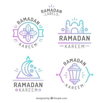 Set van moderne kleurrijke ramadan badges