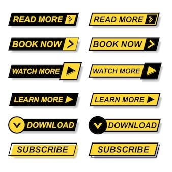 Set van moderne materiaalstijlknoppen voor website, mobiele app