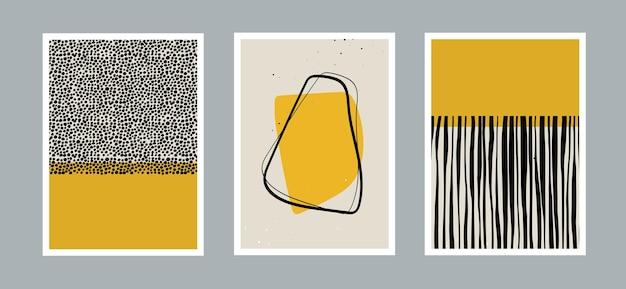 Set van moderne minimale abstracte esthetische sjabloon met primitieve vormen elementen stippen lijn