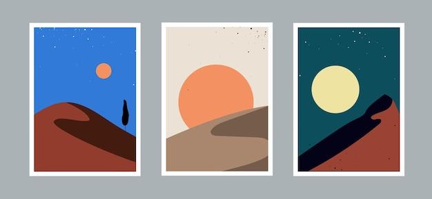 Set van moderne minimale abstracte landschappen esthetische bohemien stijl muur decor zon en bergen