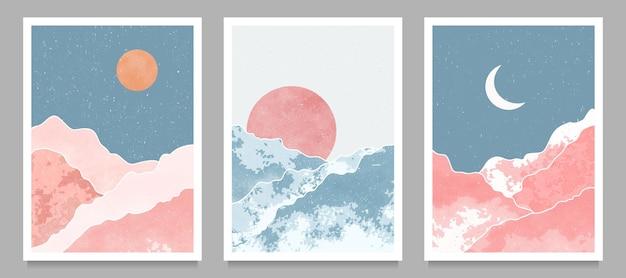 Set van moderne minimalistische illustraties uit het midden van de eeuw.