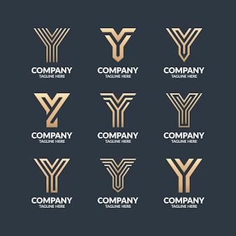 Set van moderne monogram letter y logo ontwerpsjabloon Premium Vector