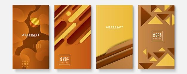 Set van moderne oranje geel groen rood abstracte geometrische background