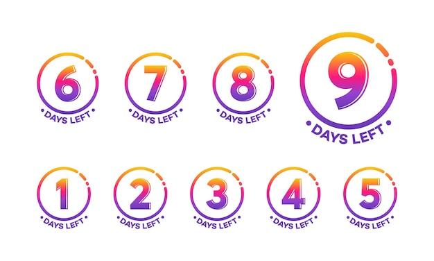 Set van moderne platte ontwerpen countdown links dagen banner, aantal dagen links badge voor promotie, countdown verkoop vectorillustratie
