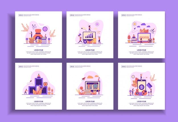 Set van moderne platte ontwerpsjablonen voor business, financiën, marketing, onderwijs, distributie, e-learning, betaling.