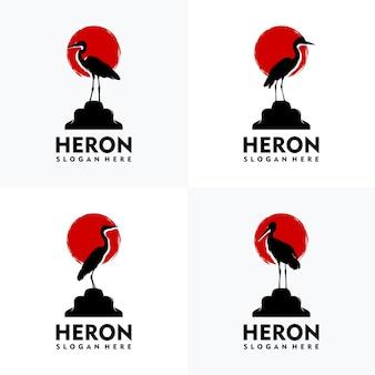 Set van moderne reiger logo silhouet stijl met rode achtergrond
