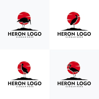 Set van moderne reiger logo silhouet stijl