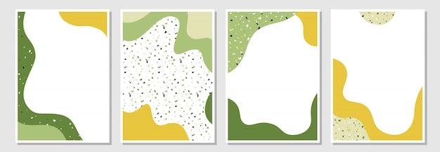Set van moderne sjablonen met vloeibare vormen en terrazzo textuur.