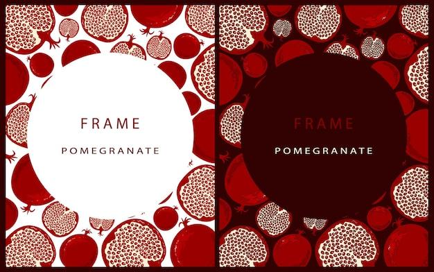 Set van moderne sjabloon met granaatappel op een bordeauxrode achtergrond met ronde plek voor tekst. frame met granaatappel. kaarten met fruit in de stijl van handtekening