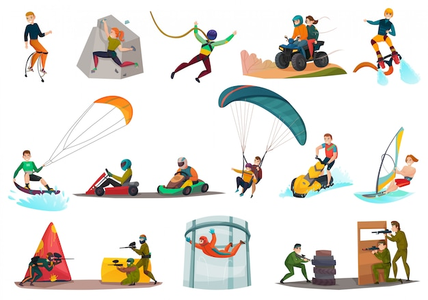 Set van moderne sporten en amusement
