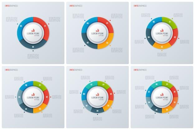 Set van moderne stijl cirkel donut grafieken, infographic ontwerpen, visualisatiesjablonen. .