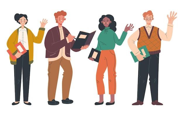 Set van moderne stijl leraren man vrouw mensen geïsoleerd op een witte achtergrond