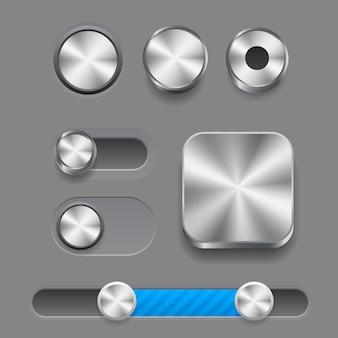 Set van moderne trendy smoothy-knoppen voor apps en website-ontwerpen. neomorfisme