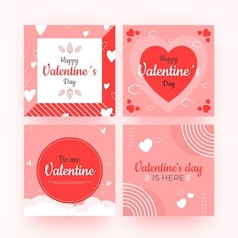 Set van moderne valentijnsdag berichten sjabloon