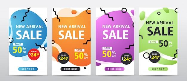 Set van moderne vloeistof verkoop sjabloon voor spandoek