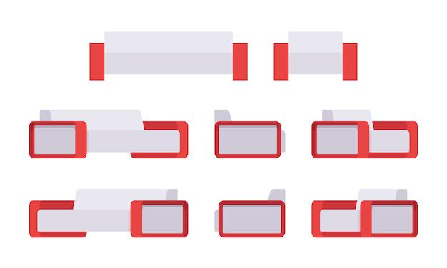 Set van moderne witte bank en fauteuil