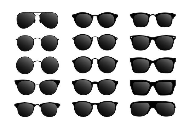 Set van moderne zonnebril. bril met zwart glas.