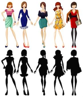 Set van modieuze dame met zijn silhouet