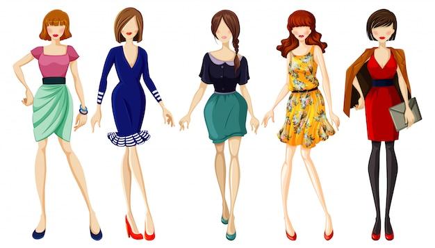 Set van modieuze dame