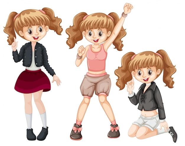Set van modieuze meisje