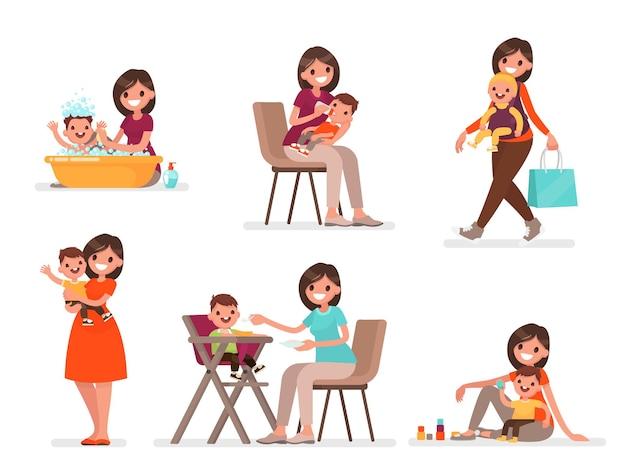 Set van moeder en baby. moeder voedt, baadt en speelt met het kind. in een vlakke stijl