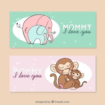 Set van moederdag banners met familie van dieren