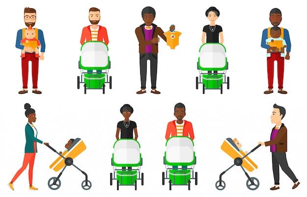 Set van moederschap en ouderschap.