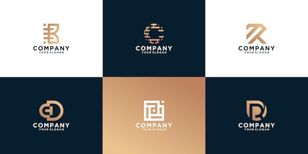 Set van monogram abstracte logo ontwerpsjabloon