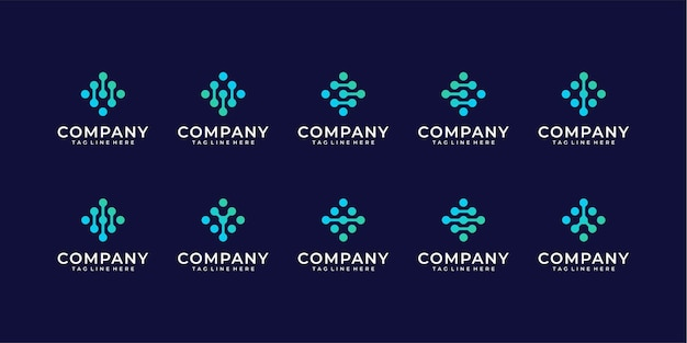 Set van monogram dot-logo. universeel kleurrijk biotechnologie molecuul atoom dna-chip symbool