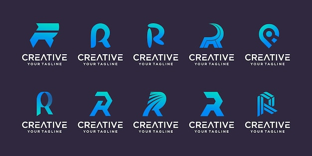 Set van monogram eerste letter r rr logo sjabloon iconen voor business of fashion business digital