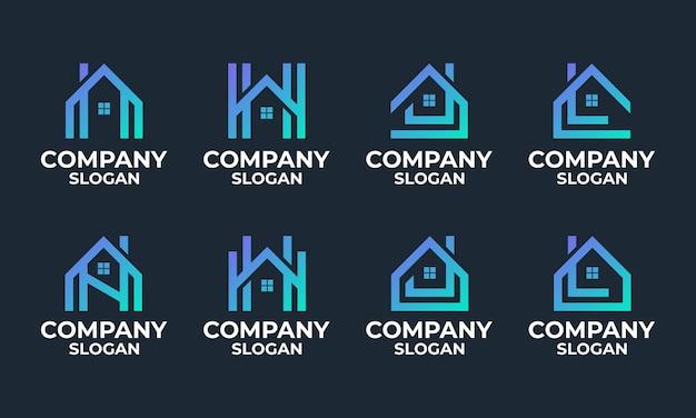 Set van monogram huis, huis, gebouw logo ontwerpsjabloon