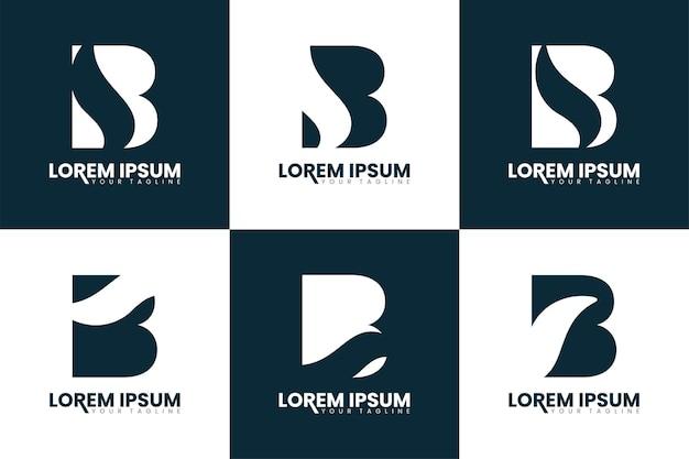 Set van monogram letter b logo ontwerp eerste alfabet