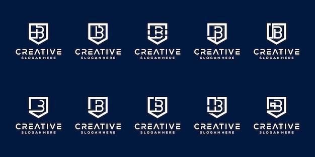Set van monogram letter b logo sjabloon