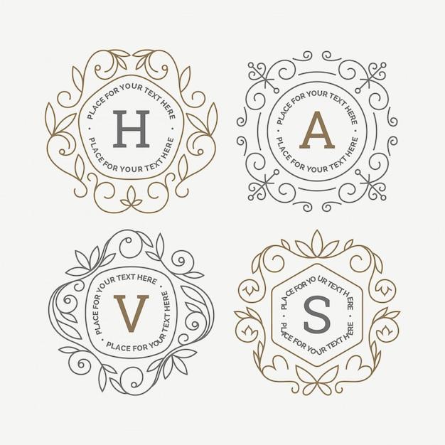 Set van monogram logo sjablonen