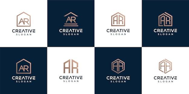 Set van monogram logo