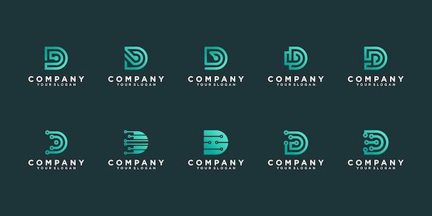 Set van monogram moderne letter d logo-ontwerp voor bedrijf premium vecto