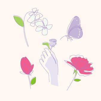 Set van monoline bloem hand met vlinder vectorillustratie