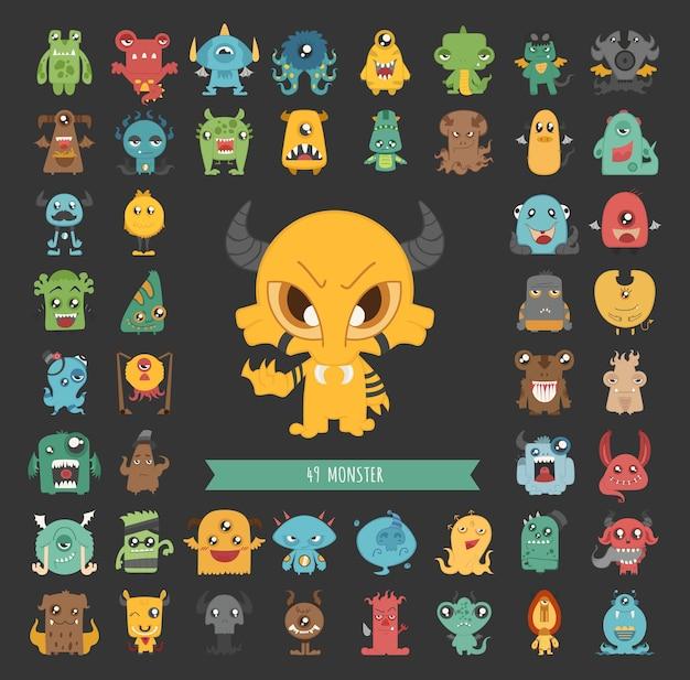 Set van monster tekens poses