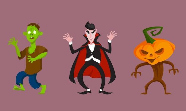 Set van monsters in intimiderende poses. halloween-personages in cartoonstijl.