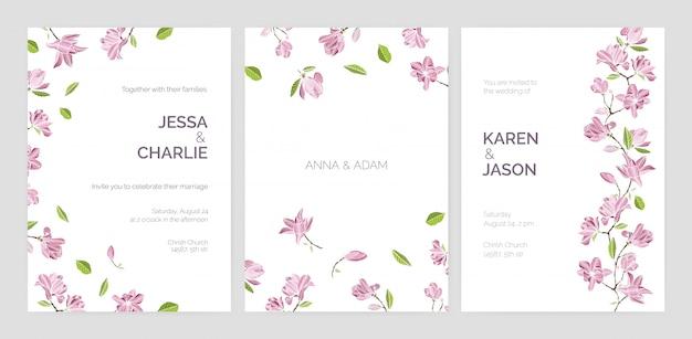 Set van mooie bruiloft uitnodiging sjablonen versierd met roze bloeiende magnolia bloemen.
