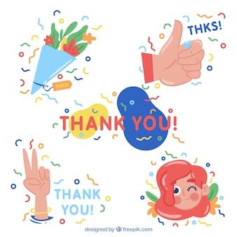 Set van mooie dank u stickers