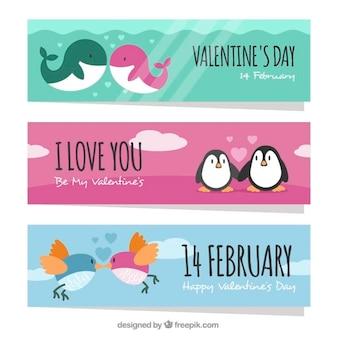 Set van mooie dier valentijn banners