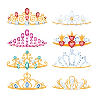 Set van mooie gouden tiara's met edelstenen.