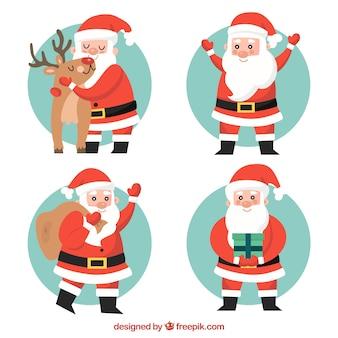 Set van mooie kerstman in plat ontwerp
